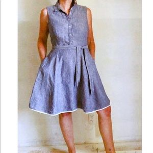 Classic Linen Chambray Knee length Dress Belted